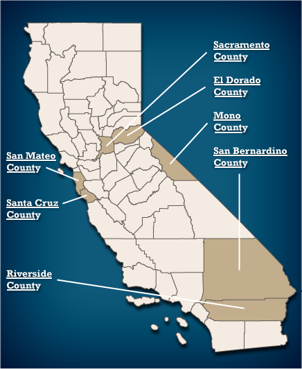 State of California - Counties Map